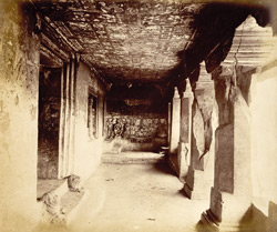 View from the left looking along interior of verandah of Buddhist Vihara, Cave XI, Ajanta
